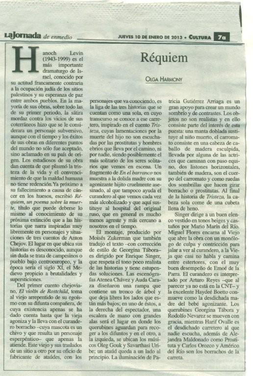 La Jornada 10 de enero 2013. Emoé de la Parra, Réquiem, Olga Harmony