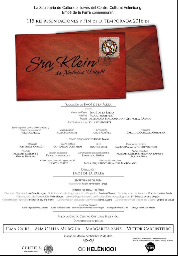 """Emoé de la Parra presenta la postal de las 115 representaciones de """"Sra. Klein"""""""